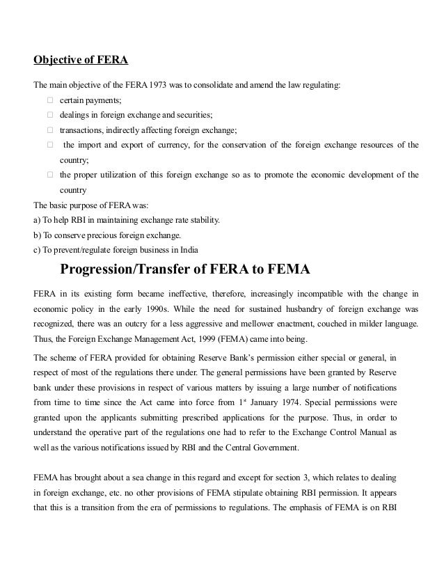 Fema provision for forex outward remittance