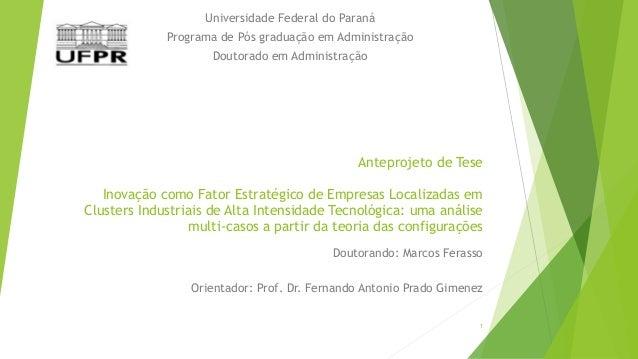 Universidade Federal do Paraná  Programa de Pós graduação em Administração  Doutorado em Administração  Anteprojeto de Tes...