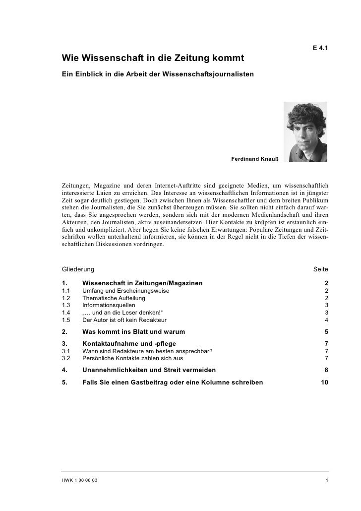 Ferdinand Knauß: Wie Wissenschaft in die Zeitung kommt