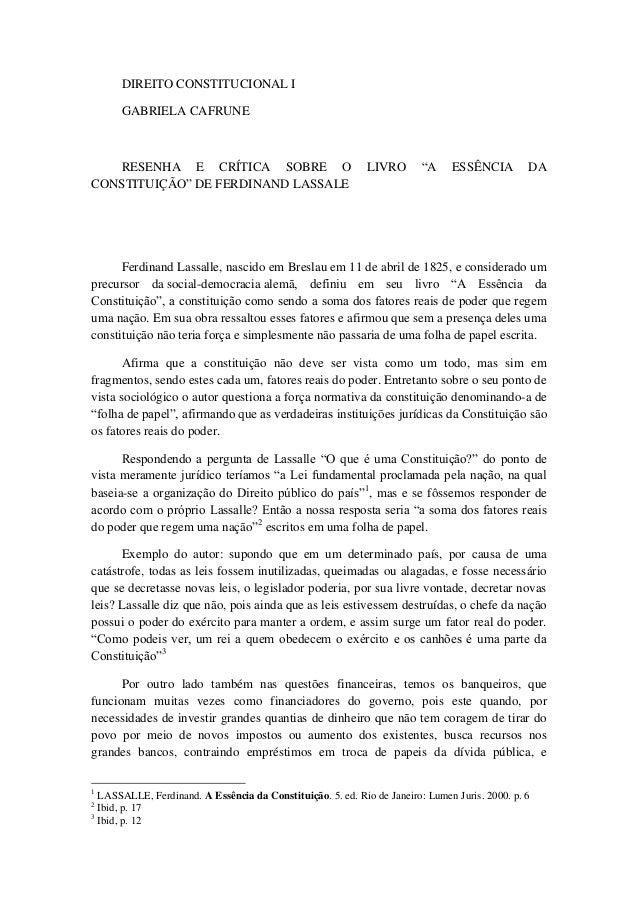 """DIREITO CONSTITUCIONAL I  GABRIELA CAFRUNE  RESENHA E CRÍTICA SOBRE O LIVRO """"A ESSÊNCIA DA CONSTITUIÇÃO"""" DE FERDINAND LASS..."""