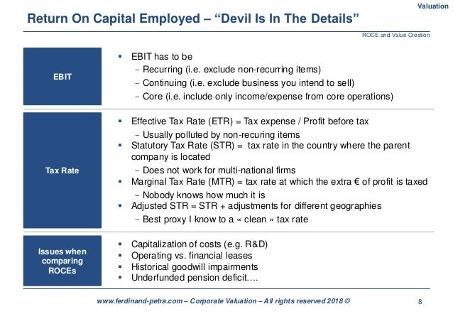 """8www.ferdinand-petra.com – Corporate Valuation – All rights reserved 2018 © Return On Capital Employed – """"Devil Is In The ..."""
