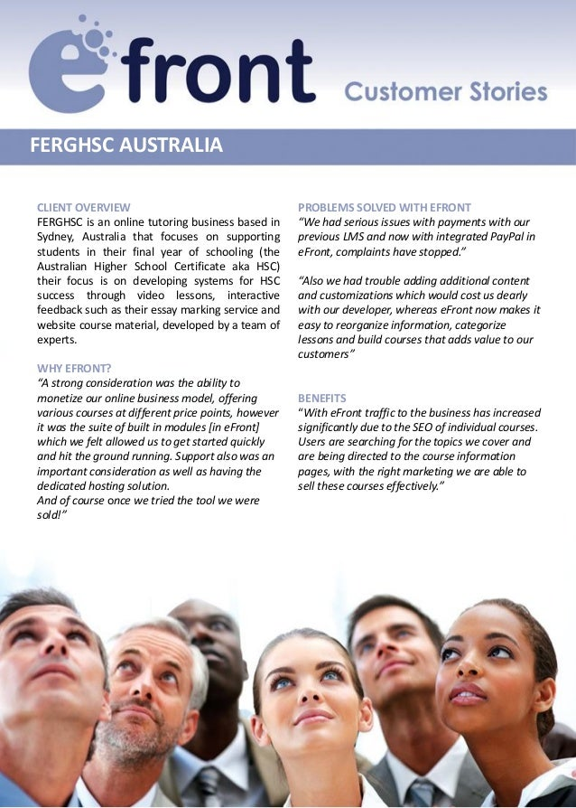FERGHSC AUSTRALIACLIENT OVERVIEW                                      PROBLEMS SOLVED WITH EFRONTFERGHSC is an online tuto...