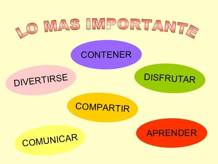 CONTENER COMPARTIR COMUNICAR APRENDER DISFRUTAR DIVERTIRSE LO MAS IMPORTANTE