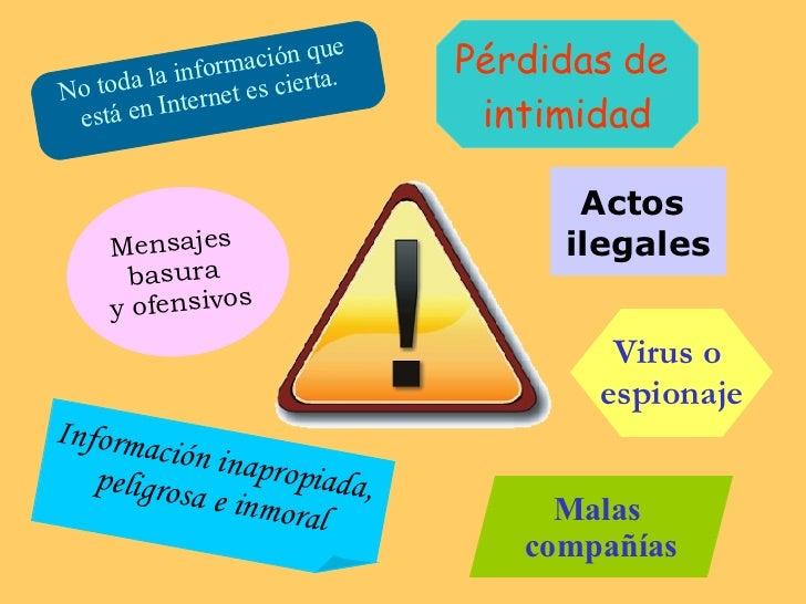 No toda la información que  está en Internet es cierta. Información inapropiada,  peligrosa e inmoral Pérdidas de  intimid...