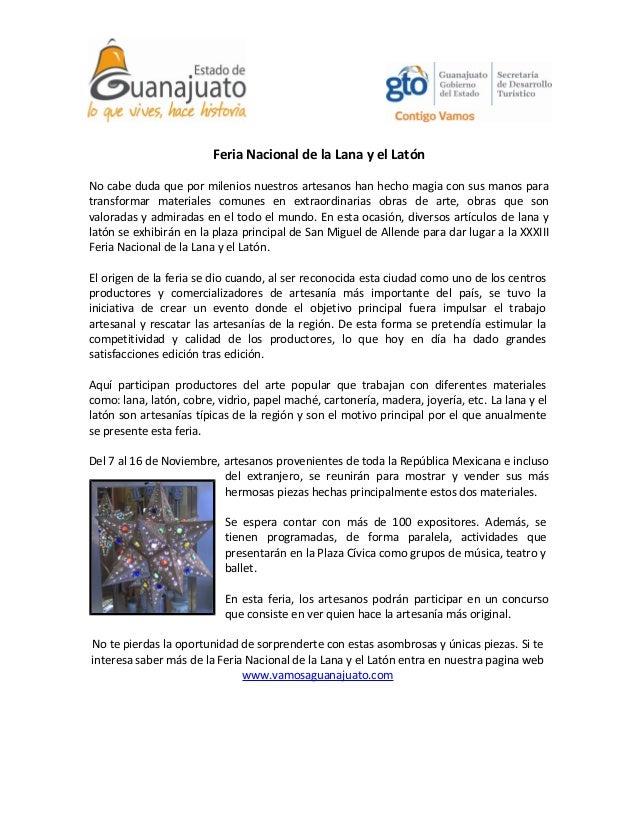 Feria Nacional de la Lana y el Latón No cabe duda que por milenios nuestros artesanos han hecho magia con sus manos para t...