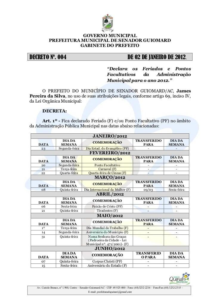 GOVERNO MUNICIPAL             PREFEITURA MUNICIPAL DE SENADOR GUIOMARD                       GABINETE DO PREFEITODECRETO N...