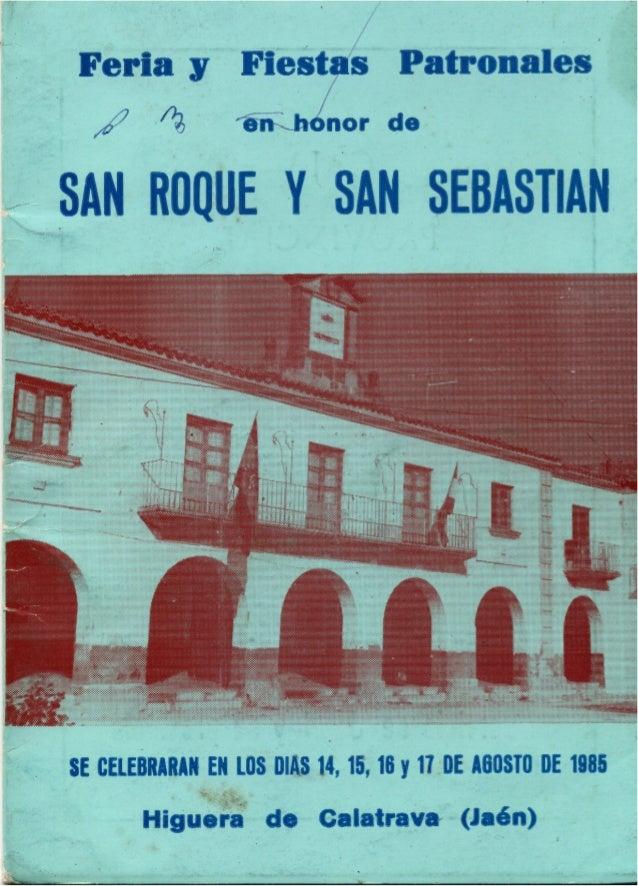 LIBRO DE FERIA Y FIESTAS HIGUERA DE CALATRAVA 1985