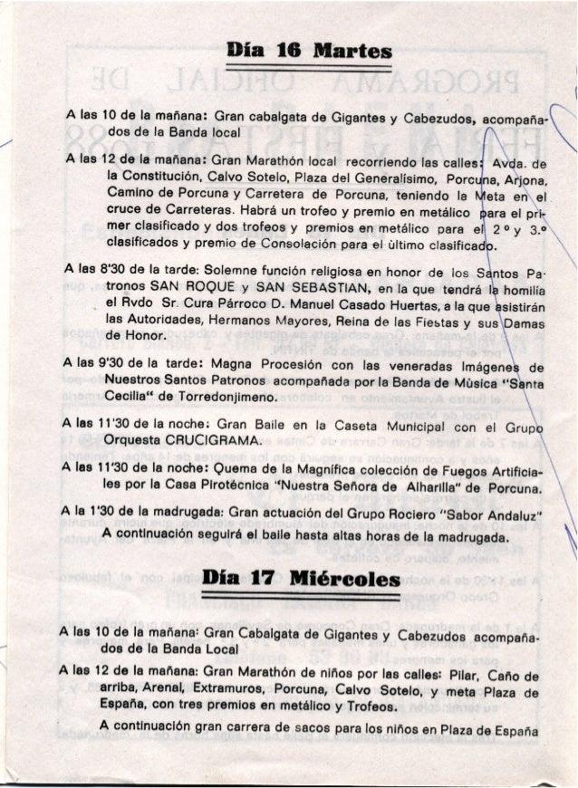 LIBRO DE FERIA Y FIESTAS HIGUERA DE CALATRAVA 1988
