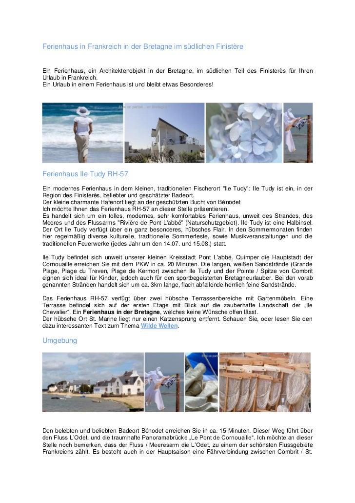 Ferienhaus in Frankreich in der Bretagne im südlichen FinistèreEin Ferienhaus, ein Architektenobjekt in der Bretagne, im s...