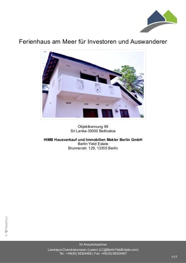 Ferienhaus am Meer für Investoren und Auswanderer Objektkennung 99 Sri Lanka-30000 Batticaloa HIMB Hausverkauf und Immobil...
