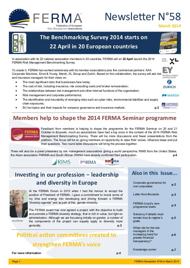 Newsletter N°58 March 2014 Page 1 FERMA Newsletter N°58 ● March 2014 Also in this Issue... Corporate governance for non-co...