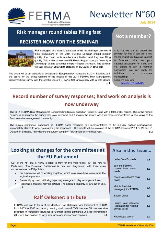 Newsletter N°60 July 2014 Page 1 FERMA Newsletter N°60 ● July 2014 Looking at changes for the committees at the EU Parliam...