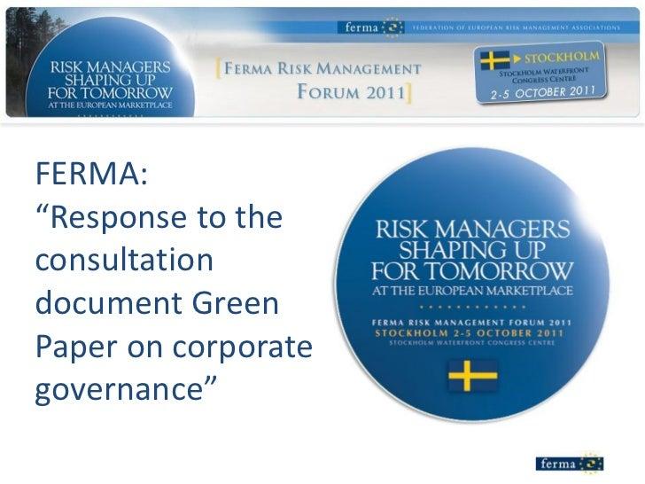 Essay on corporate governance