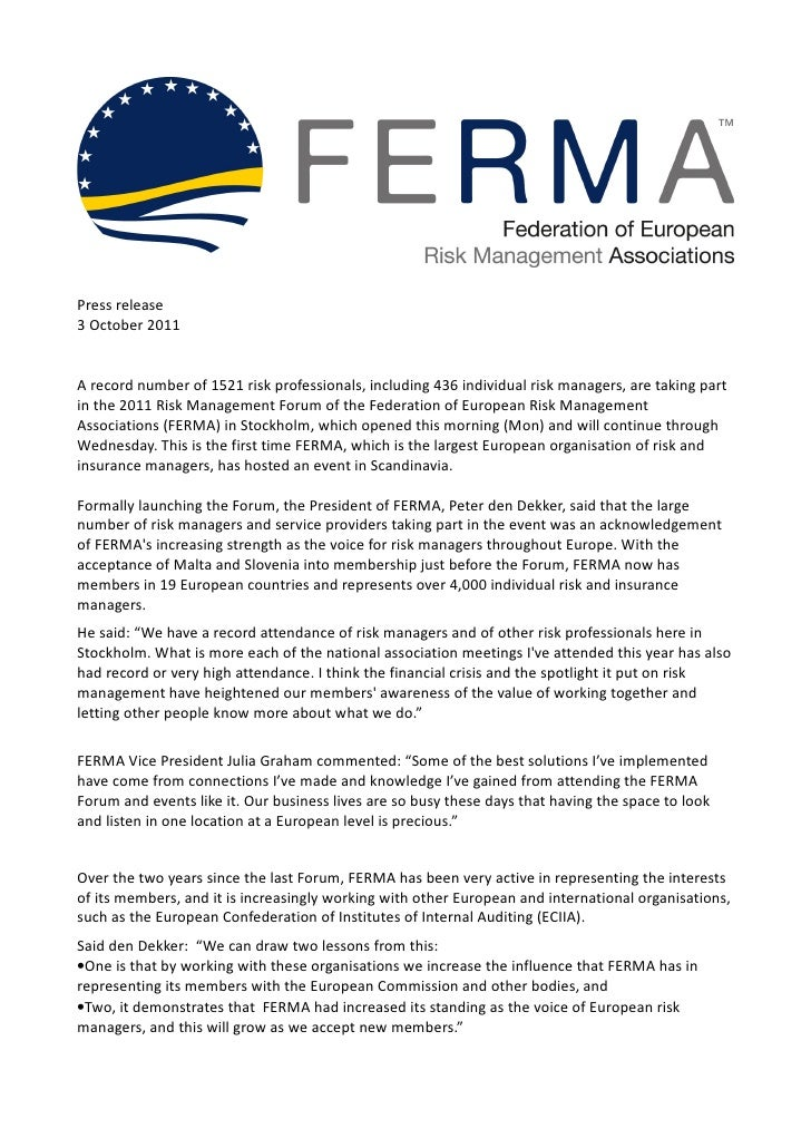 Press release3 October 2011A record number of 1521 risk professionals, including 436 individual risk managers, are taking ...