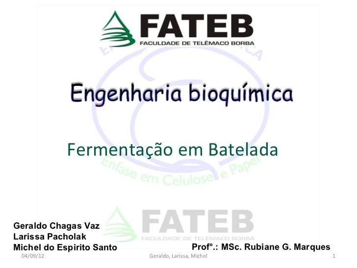 Fermentação em BateladaGeraldo Chagas VazLarissa PacholakMichel do Espirito Santo                    Prof°.: MSc. Rubiane ...