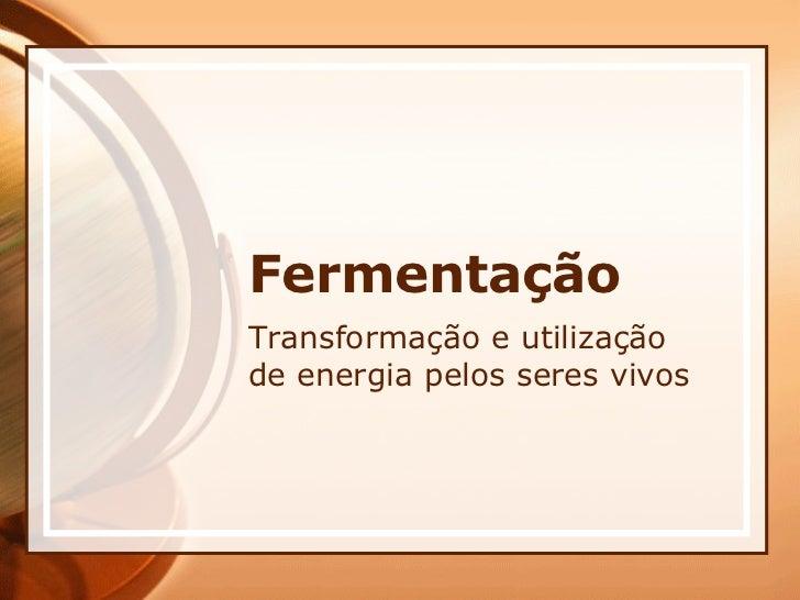 Fermentação Transformação e utilização de energia pelos seres vivos