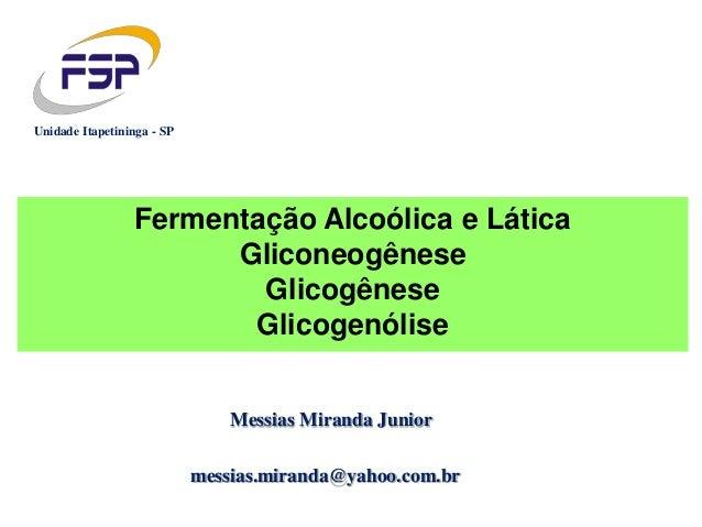 Messias Miranda Junior messias.miranda@yahoo.com.br Unidade Itapetininga - SP Fermentação Alcoólica e Lática Gliconeogênes...