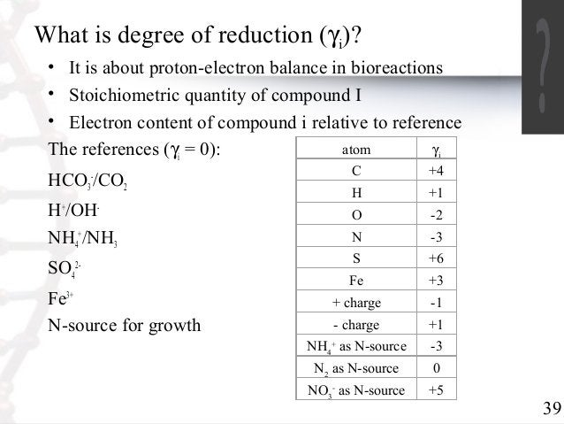 39  What is degree of reduction (g)?  i• It is about proton-electron balance in bioreactions  • Stoichiometric quantity of...