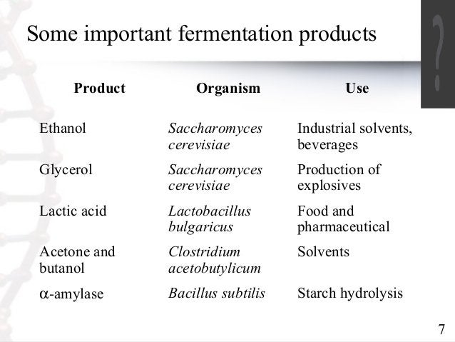 7  Some important fermentation products  Product Organism Use  Ethanol Saccharomyces  cerevisiae  Industrial solvents,  be...