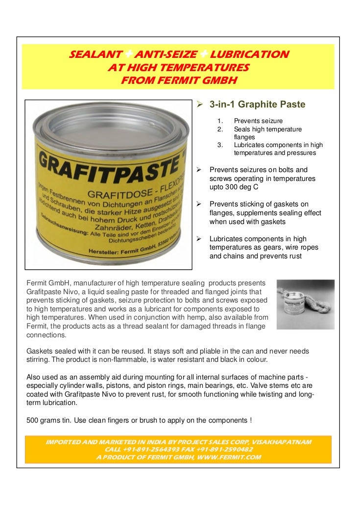 SEALANT ANTI-SEIZE LUBRICATION                  AT HIGH TEMPERATURES                    FROM FERMIT GMBH                  ...