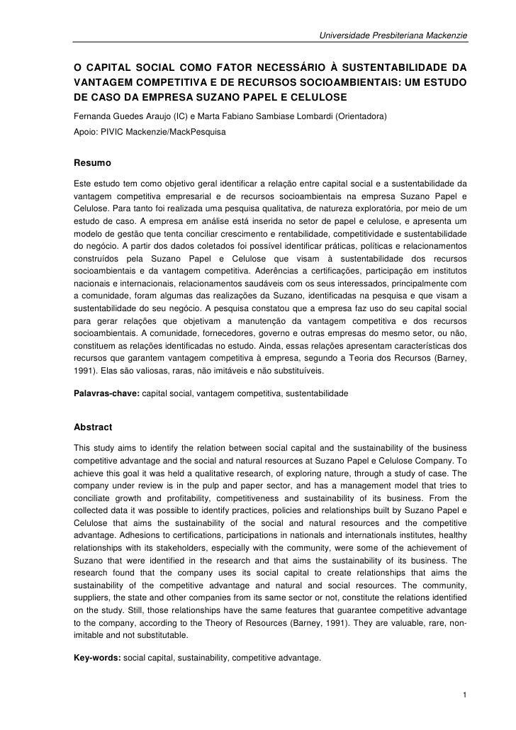 Universidade Presbiteriana MackenzieO CAPITAL SOCIAL COMO FATOR NECESSÁRIO À SUSTENTABILIDADE DAVANTAGEM COMPETITIVA E DE ...