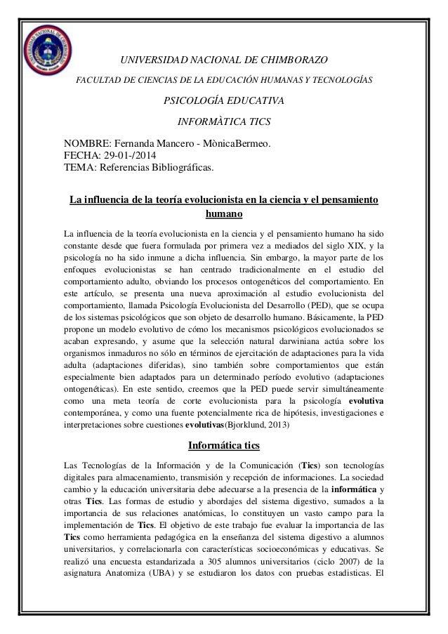 UNIVERSIDAD NACIONAL DE CHIMBORAZO FACULTAD DE CIENCIAS DE LA EDUCACIÓN HUMANAS Y TECNOLOGÍAS  PSICOLOGÍA EDUCATIVA INFORM...