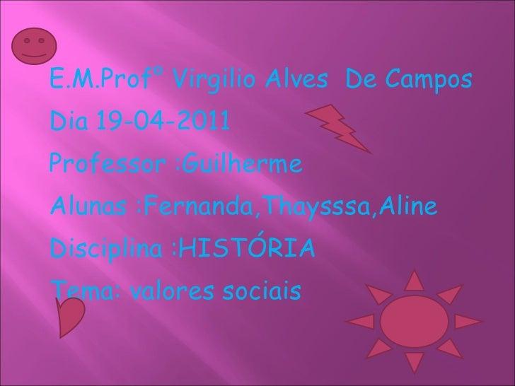 <ul><li>E.M.Prof° Virgilio Alves  De Campos </li></ul><ul><li>Dia 19-04-2011 </li></ul><ul><li>Professor :Guilherme </li><...