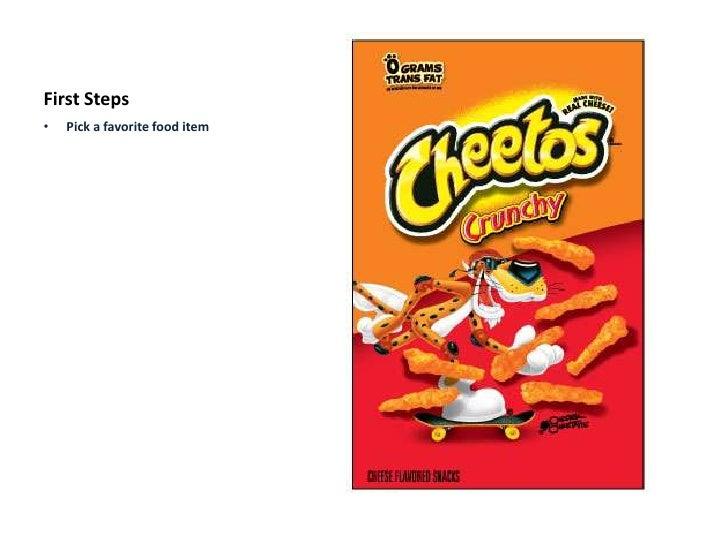 First Steps<br /><ul><li>Pick a favorite food item</li></li></ul><li>First Steps<br /><ul><li>Pick a favorite food item