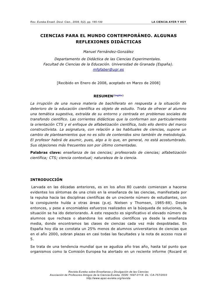 Rev. Eureka Enseñ. Divul. Cien., 2008, 5(2), pp. 185-199                                 LA CIENCIA AYER Y HOY            ...