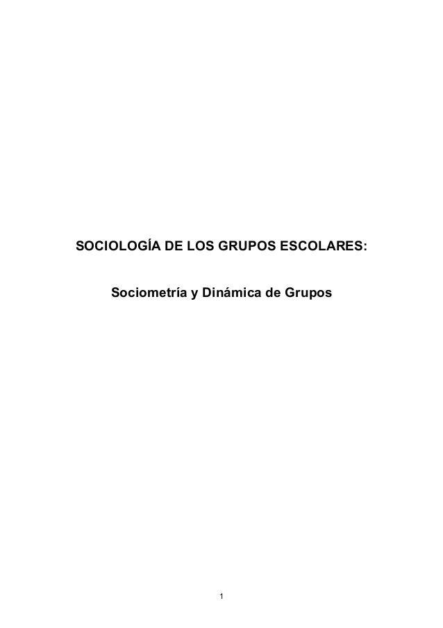 SOCIOLOGÍA DE LOS GRUPOS ESCOLARES: Sociometría y Dinámica de Grupos 1