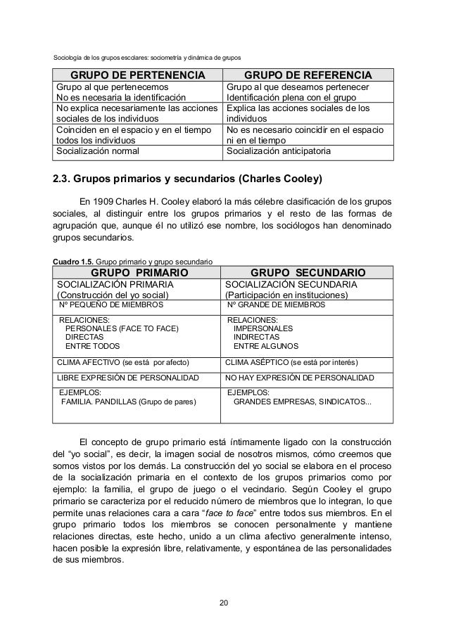 Sociología de los grupos escolares: sociometría y dinámica de grupos GRUPO DE PERTENENCIA GRUPO DE REFERENCIA Grupo al que...
