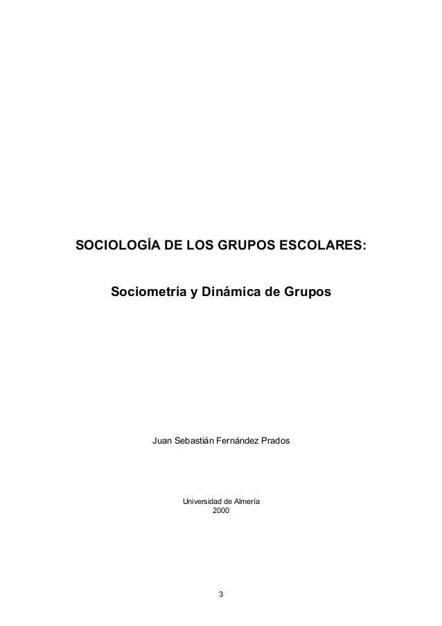 SOCIOLOGÍA DE LOS GRUPOS ESCOLARES: Sociometría y Dinámica de Grupos Juan Sebastián Fernández Prados Universidad de Almerí...