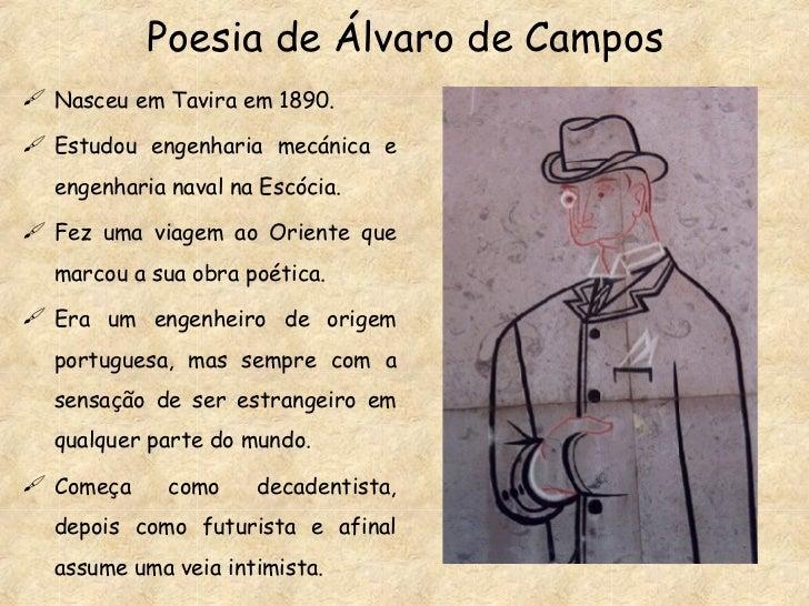 Poesia de Álvaro de Campos <ul><li>Nasceu em Tavira em 1890. </li></ul><ul><li>Estudou engenharia mecánica e engenharia na...