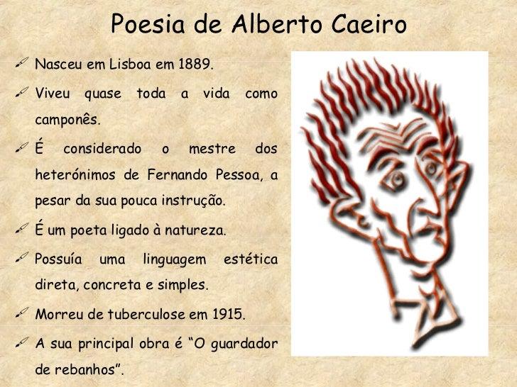 Poesia de Alberto Caeiro <ul><li>Nasceu em Lisboa em 1889. </li></ul><ul><li>Viveu quase toda a vida como camponês. </li><...