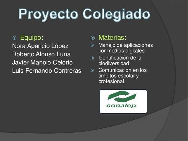  Equipo: Nora Aparicio López Roberto Alonso Luna Javier Manolo Celorio Luis Fernando Contreras  Materias:  Manejo de ap...