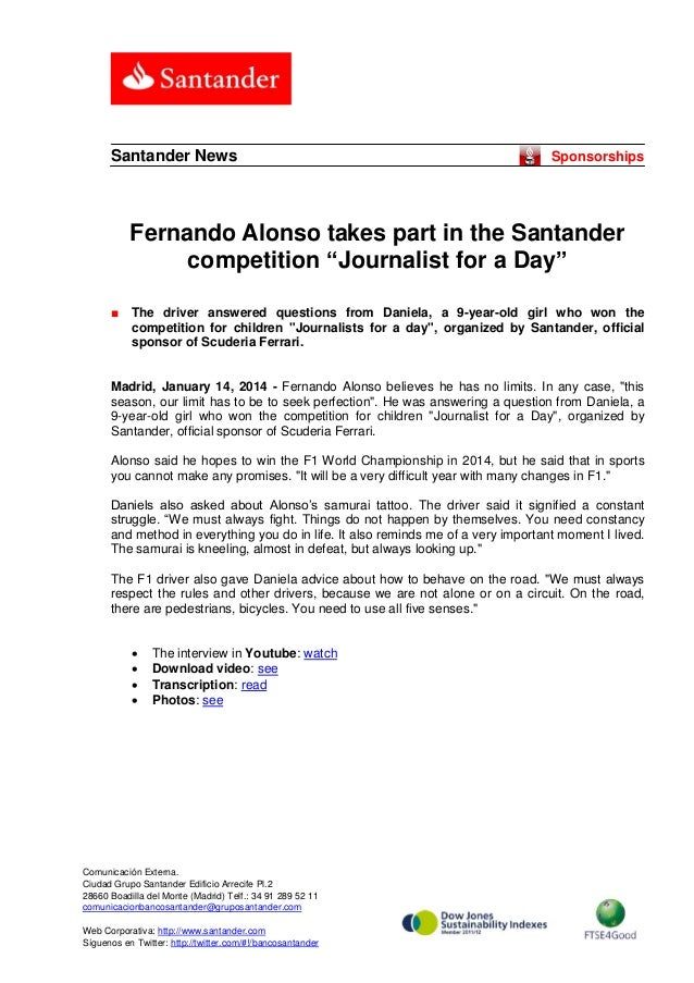 """Santander News  Sponsorships  Fernando Alonso takes part in the Santander competition """"Journalist for a Day"""" ■  The driver..."""
