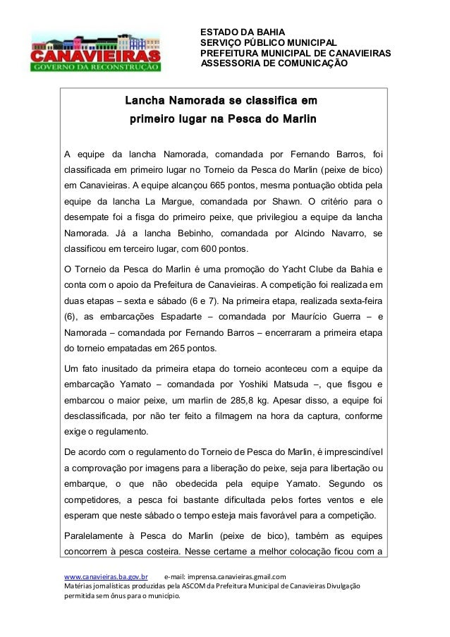 ESTADO DA BAHIA SERVIÇO PÚBLICO MUNICIPAL PREFEITURA MUNICIPAL DE CANAVIEIRAS ASSESSORIA DE COMUNICAÇÃO  Lancha Namorada s...