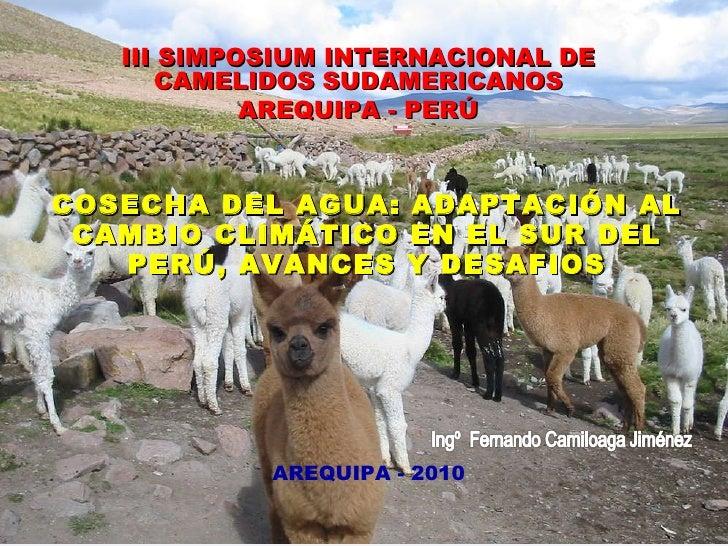COSECHA DEL AGUA: ADAPTACIÓN AL CAMBIO CLIMÁTICO EN EL SUR DEL PERÚ, AVANCES Y DESAFIOS III SIMPOSIUM INTERNACIONAL DE CAM...