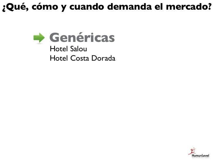 ¿Qué, cómo y cuando demanda el mercado?        Genéricas        Hotel Salou        Hotel Costa Dorada        Semi-genérica...