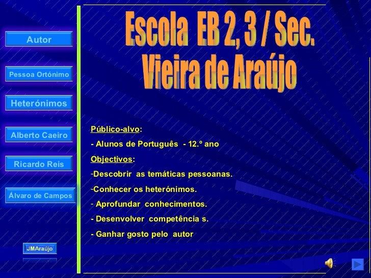 Autor   Pessoa Ortónimo    Heterónimos                     Público-alvo: Alberto Caeiro                    - Alunos de Por...