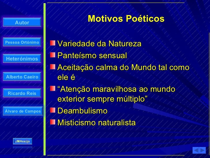 Autor                 Motivos Poéticos  Pessoa Ortónimo                    Variedade da Natureza Heterónimos        Panteí...