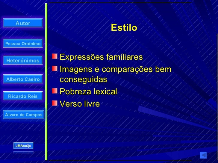 Autor                               Estilo Pessoa Ortónimo    Heterónimos                    Expressões familiares        ...