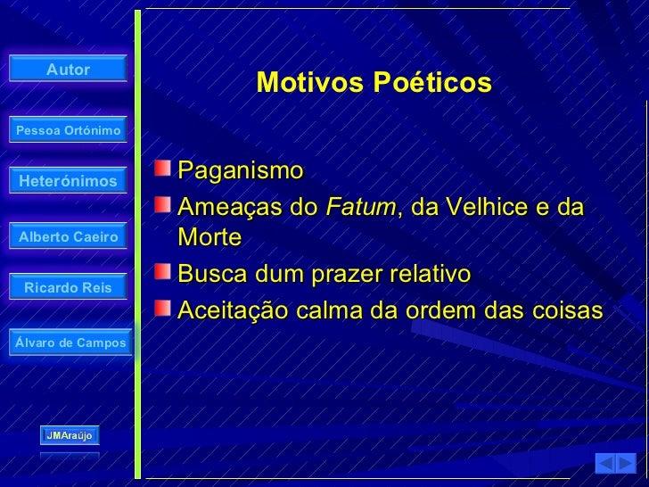 Autor                          Motivos Poéticos Pessoa Ortónimo    Heterónimos                    Paganismo               ...