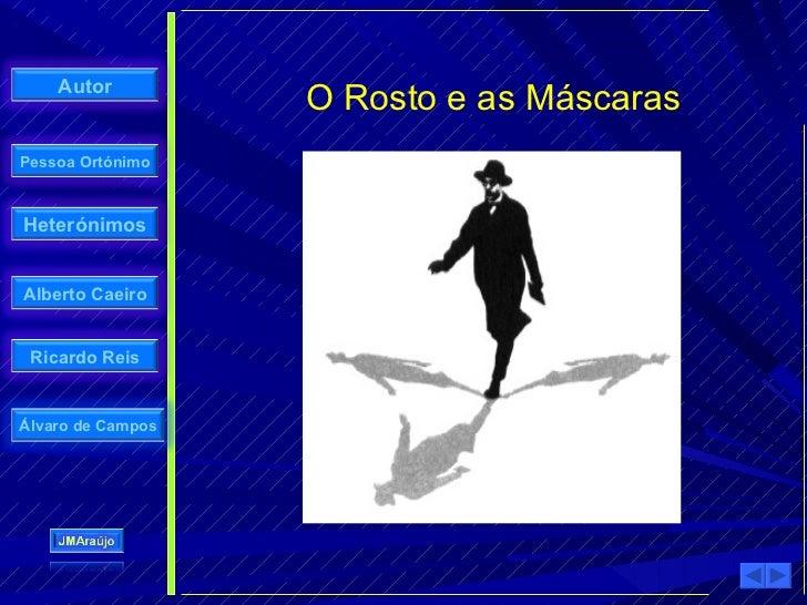 Autor                    O Rosto e as Máscaras Pessoa Ortónimo    Heterónimos   Alberto Caeiro    Ricardo Reis   Álvaro de...