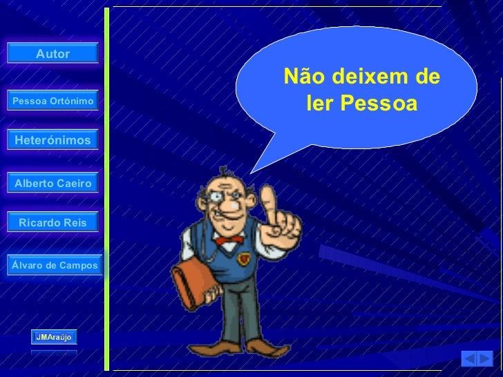 Autor                     Não deixem de Pessoa Ortónimo                      ler Pessoa Heterónimos   Alberto Caeiro    Ri...