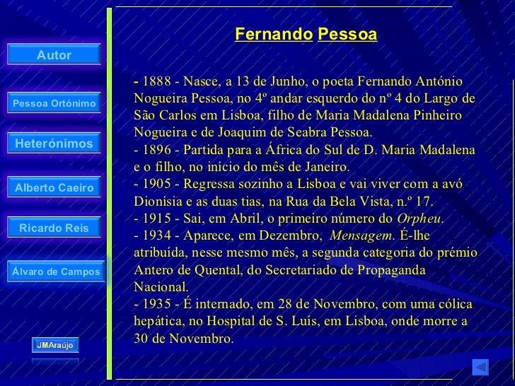 Fernando Pessoa     Autor                     - 1888 - Nasce, a 13 de Junho, o poeta Fernando António Pessoa Ortónimo    N...