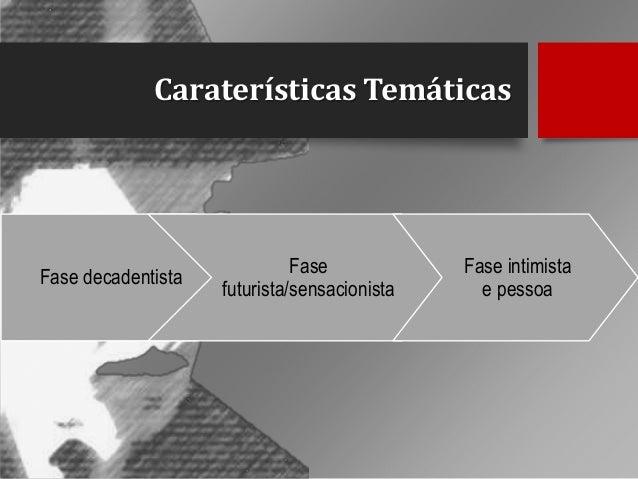 Caraterísticas Temáticas  Fase decadentista  Fase futurista/sensacionista  Fase intimista e pessoa