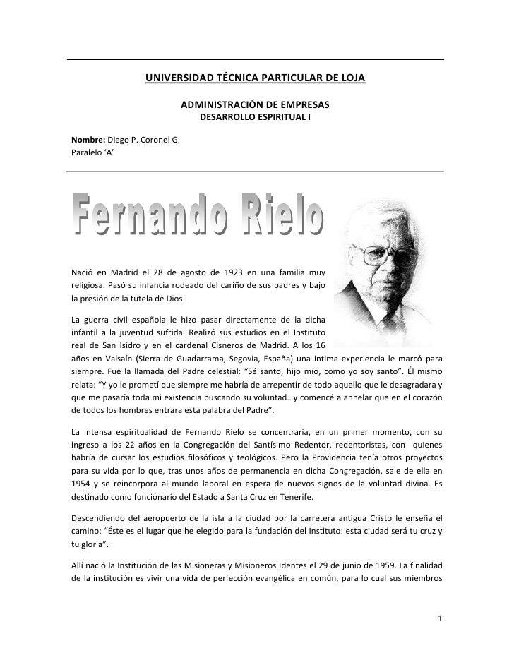 UNIVERSIDAD TÉCNICA PARTICULAR DE LOJAADMINISTRACIÓN DE EMPRESASDESARROLLO ESPIRITUAL INombre: Diego P. Coronel G.Paralelo...