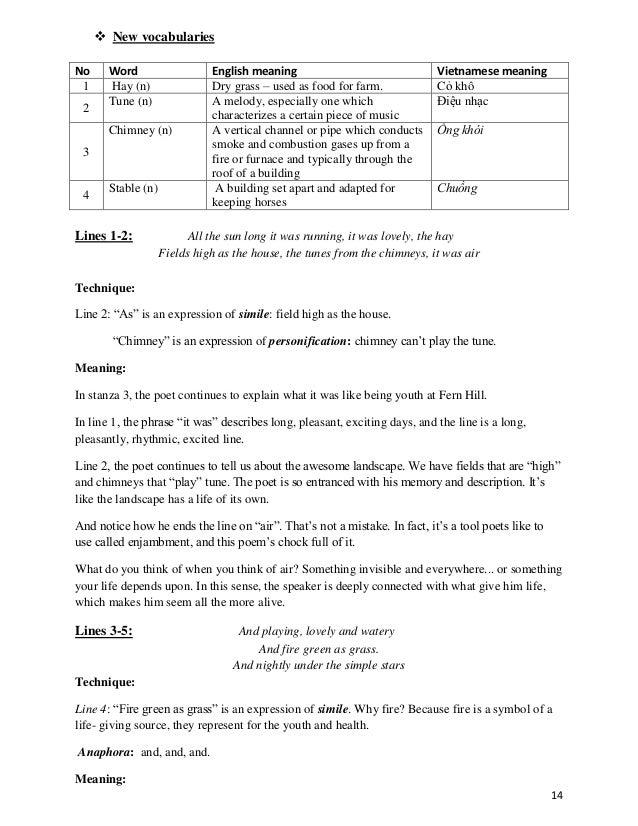 fern hill poem summary