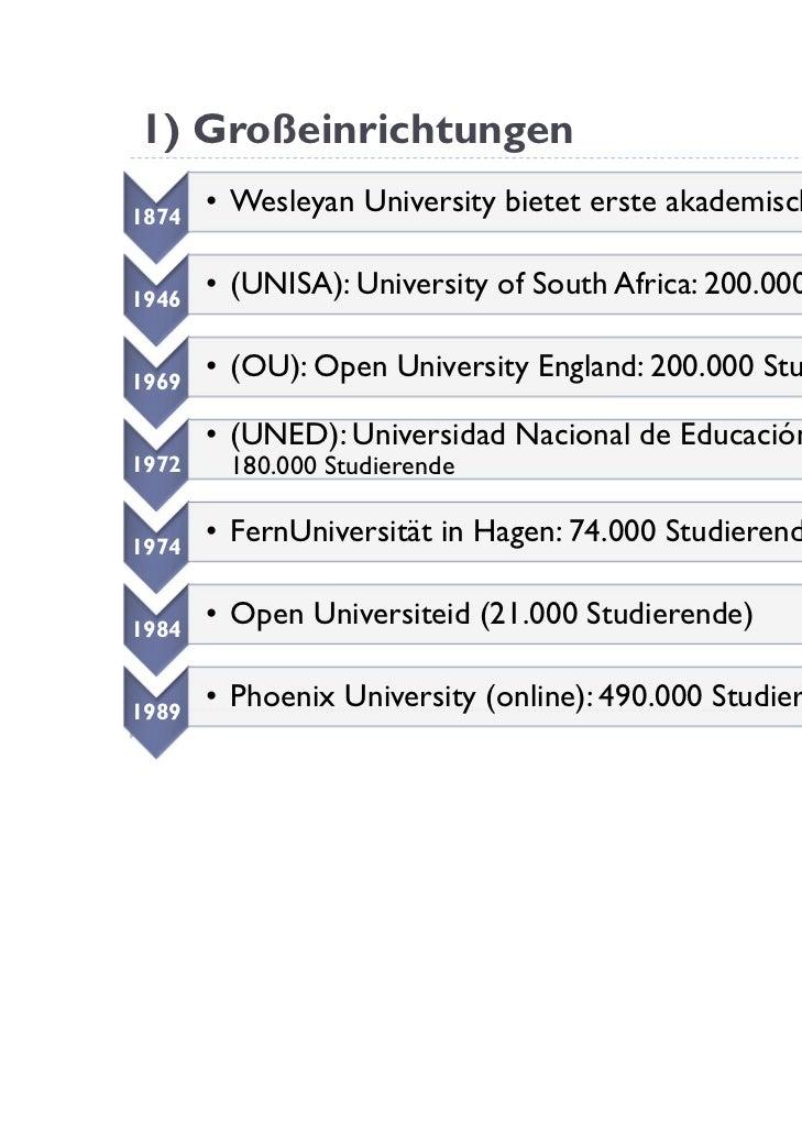 1) Großeinrichtungen1874       • Wesleyan University bietet erste akademische Kurse an1946       • (UNISA): University of ...